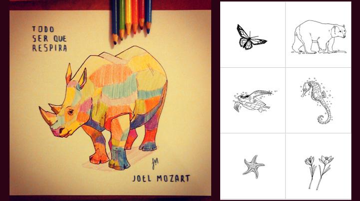 desenhos de animais e flores para colorir